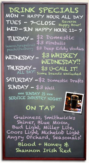 Happy Hour Specials and Drafts